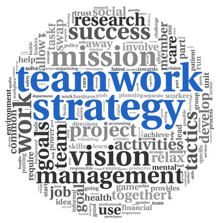 cloud tag: Teamwork strategy and management concept in word tag cloud