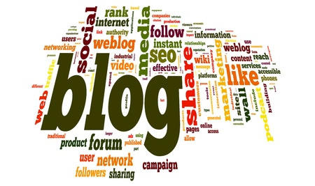 microblogging: Blog concept in word tag cloud on white background