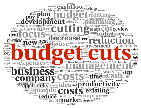 time deficit: Budget cuts in word tag cloud on white background Stock Photo