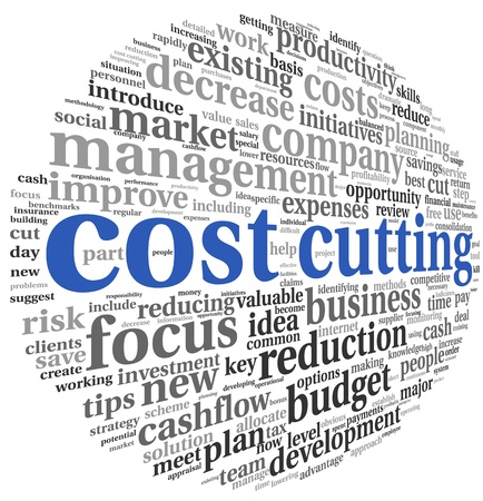 cost reduction: Costs cutting concept in word tag cloud Stock Photo