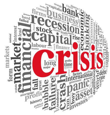 business risk: Crisis concept in word tag cloud on white background