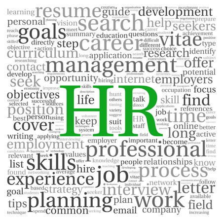 HR - human resources concept in tag cloud on white background Stock Photo - 18173623