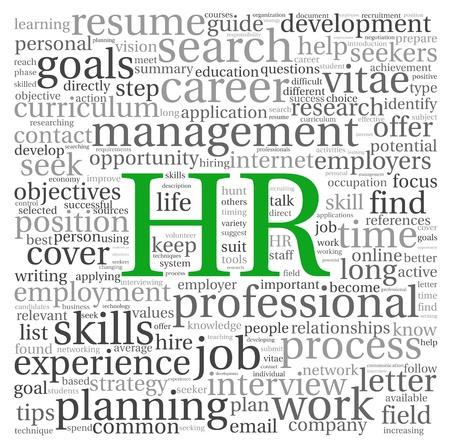 HR - emberi erőforrás fogalom tag felhő, fehér, háttér
