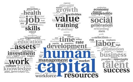 leading: Human capital concept in tag cloud on white background Stock Photo