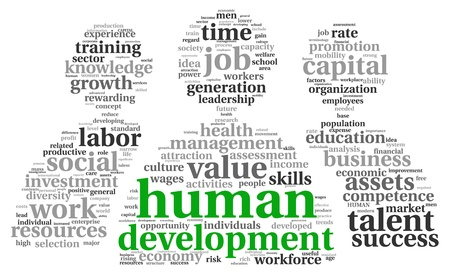 Human development concept in tag cloud on white background Stock Photo