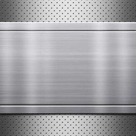 metal mesh: Metal plate on metal mesh background or texture Stock Photo
