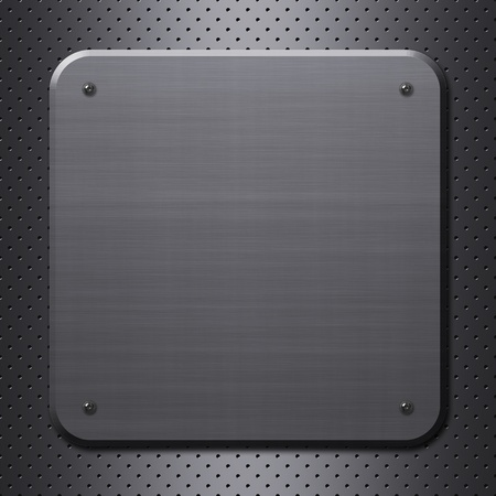 brushed aluminium: Metal plate with rivets on metal mesh background or texture