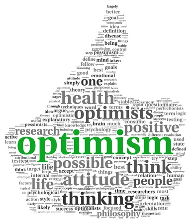 thumbup: Optimism concept in word tag cloud of thumb up symbol