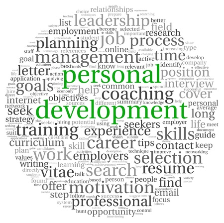 Personal development concept in word tag cloud on white photo