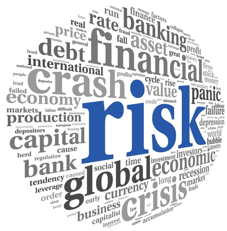 credit crisis: Risk in economy and finance concept in word tag cloud on white background
