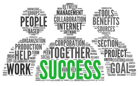 Succes concept verwante woorden in tag cloud op wit wordt geïsoleerd