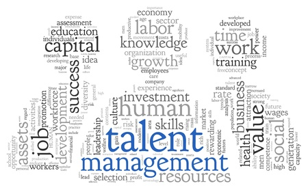 Talent management concept in word tag cloud on white background Stock Photo