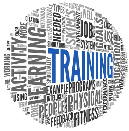 personal goals: Training and education related words concept in tag cloud