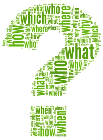 an answer: Questioms concept in question mark of word tag cloud