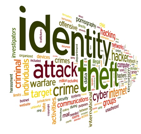 Identiry theft concept in word tag cloud isolated on white background Фото со стока