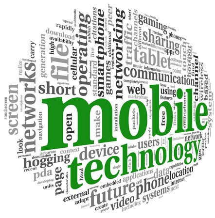 functionality: Mobile technology concept in word tag cloud on white Stock Photo