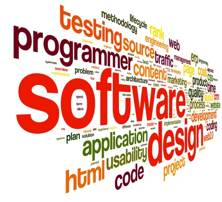 application software: Software design concept in tag cloud on white background