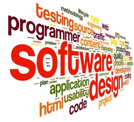 Szoftver tervezési koncepció tag felhő, fehér, háttér Stock fotó