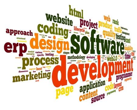Softwareontwikkeling concept tag cloud op een witte achtergrond