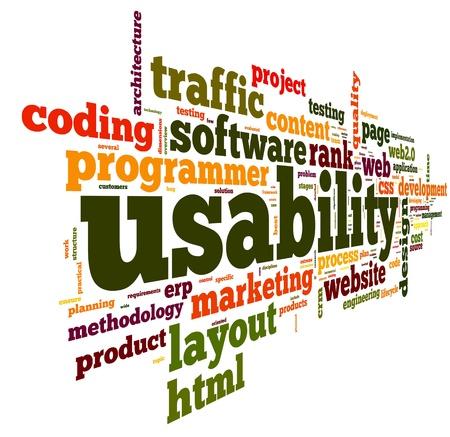 Web használhatóság fogalom tag felhő, fehér, háttér