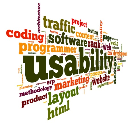 crm: Web usability concept in tag cloud on white background