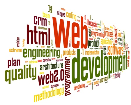 website traffic: Web development concept in word tag cloud on black background