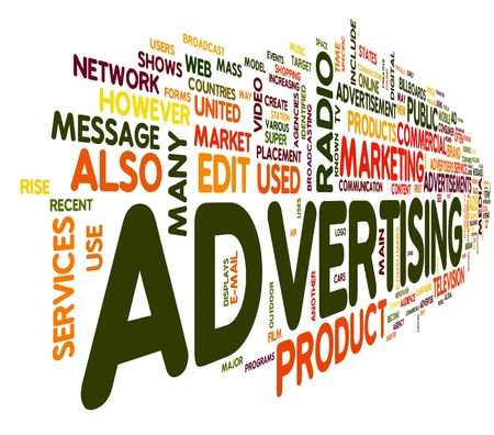 Advertising word concept in tag cloud on white background Фото со стока