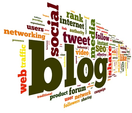 microblogging: Blog concept in word tag cloud isolated on white background