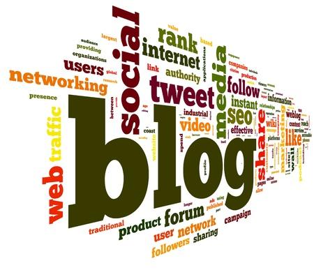 Blog koncepció szót címkefelhő elszigetelt fehér háttér