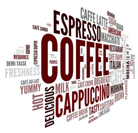 Kávé szó fogalmát a tag felhő, fehér háttér