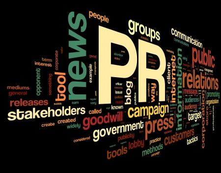 PR koncepció szót címkefelhő fekete háttér