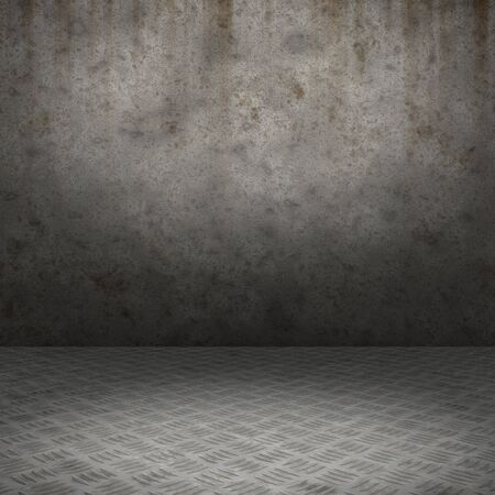 Grunge interior with metal floor and concrete wall userful as background Stock Photo - 18518895