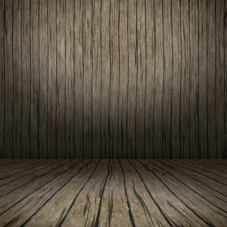Grunge interior with wooden floor and wall userful as background photo