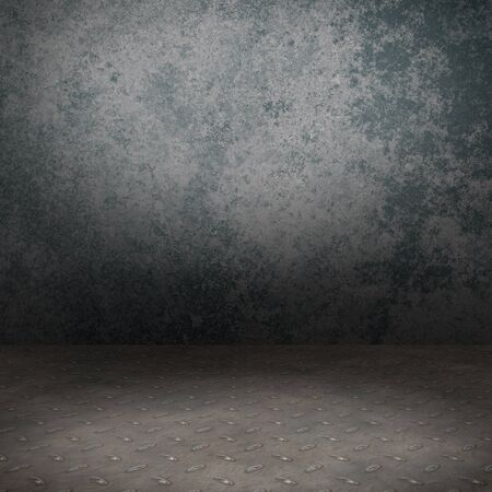 Grunge interior with metal floor and concrete wall userful as background Stock Photo - 18518914