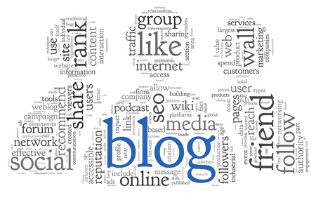 Blog and social media concept in word tag cloud on white background Stock Photo - 18684110