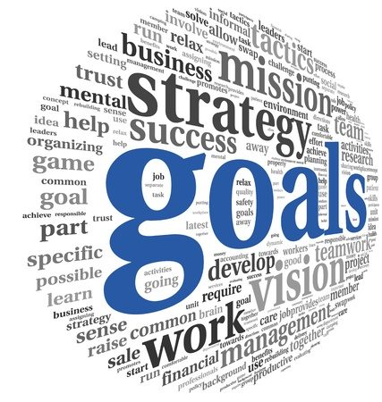 business strategy: Goals in project and management concept in word tag cloud