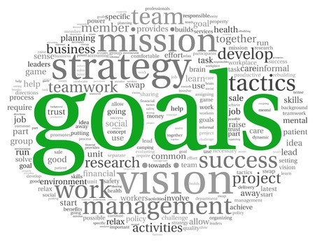 company vision: Goals in project and management concept in word tag cloud