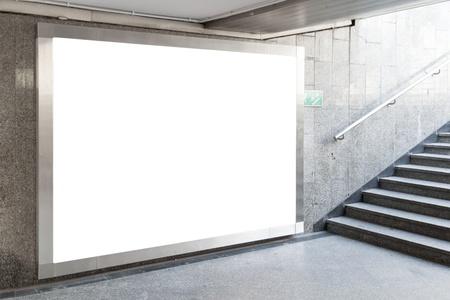 Blank billboard located in underground hall