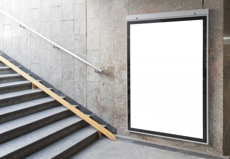 blank poster: Blank billboard or poster located in underground hall