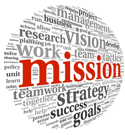 Mission and bussiness management concept in word tag cloud isolated on white background Stockfoto