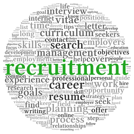 Recruitment concept in word tag cloud on white background Фото со стока
