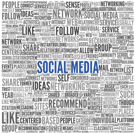 Social media concept in word tag cloud on white background Stock Photo - 18684116