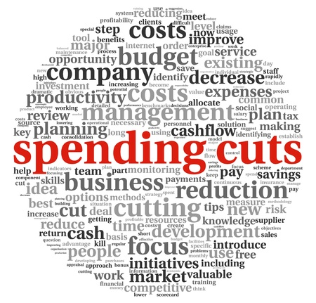 Costs cutting concept in word tag cloud Stockfoto