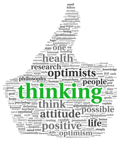 Positive thinking concept in word tag cloud of thumb up symbol photo