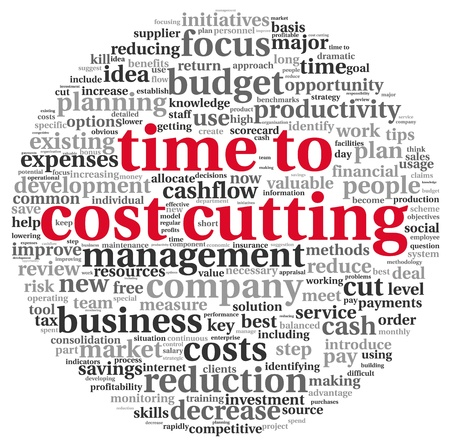Focus on costs cutting concept in word tag cloud photo