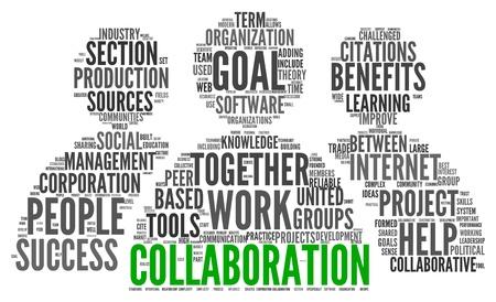Együttműködés koncepció szót címkefelhő elszigetelt fehér háttér