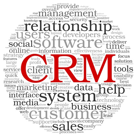 Customer Relationship Management System CRM in word tag cloud Banco de Imagens