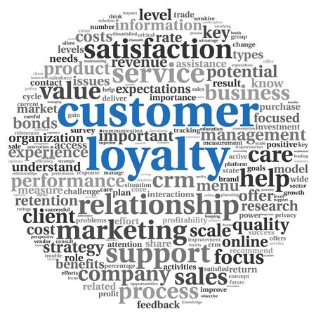 Concepto de la lealtad del cliente en palabra de la etiqueta en blanco clound