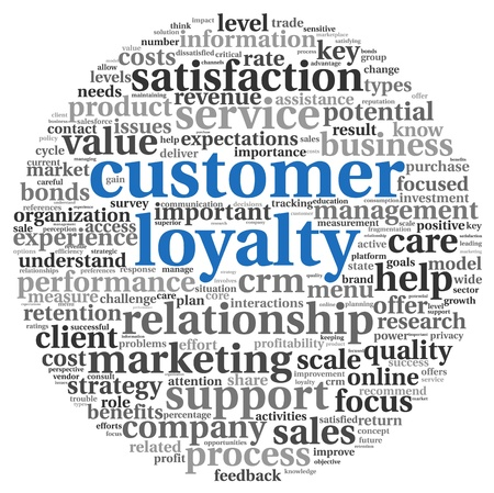 Customer loyalty concept in word tag clound on white Фото со стока