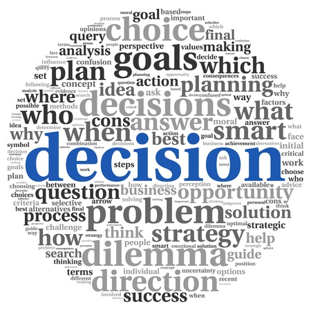 Decision making concept in tag cloud on white background Stockfoto